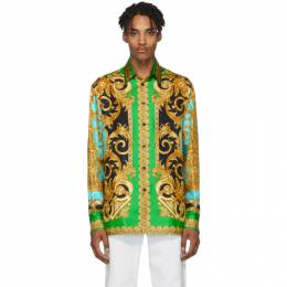 Versace Green and Blue Silk Barocco Homme Shirt 192404M19201401GB