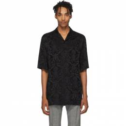 Versace Black Silk Damask Short Sleeve Shirt 192404M19202503GB