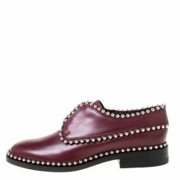 Alexander Wang Burgundy Leather Stud Trim Brogues Loafers Size 38.5