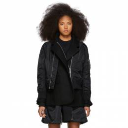 Sacai Black Melton MA-1 Jacket 192445F05800303GB