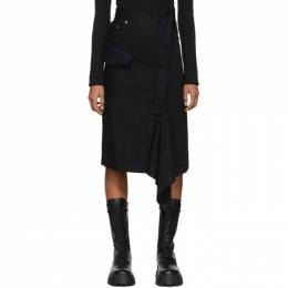 Sacai Black Denim Asymmetric Skirt 192445F09202004GB