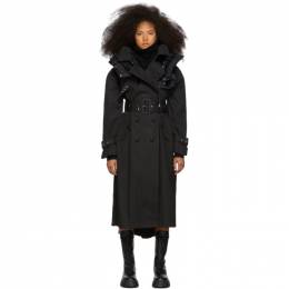 Sacai Black Coated Cotton Trench Coat 192445F06700103GB