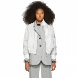 Sacai Grey Melton MA-1 Jacket 192445F05800501GB