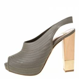 Bally Grey Leather Wooden and Metal Heel Slingback Sandals Size 38 221792