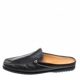 Tod's Black Leather Flat Loafer Mules Size 42.5 221445
