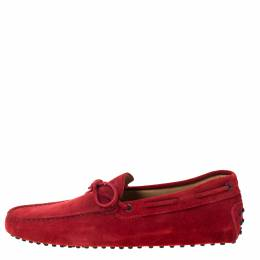 Tod's Red Suede Bow Detail Loafers Size 45 Tod's