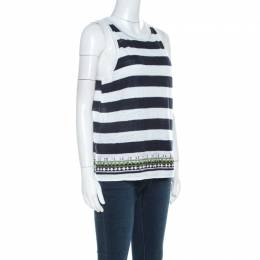 Tory Burch Navy Blue Brushed Stripe Linen Sequined Jackie Tank Top M 221276