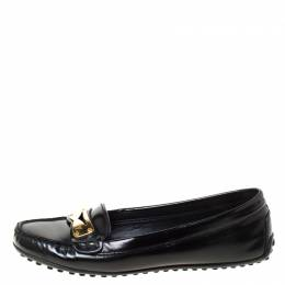 Louis Vuitton Black Leather Penny Loafers Size 36