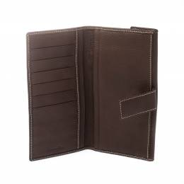 Dior Brown Leather Long Flap Wallet 221222
