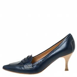 Tod's Navy Blue Leather Penny Loafer Pointed Toe Pumps Size 39 Tod's