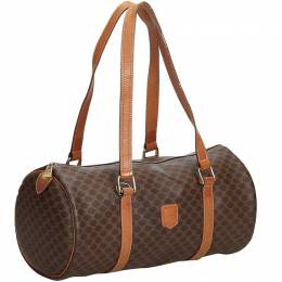 Celine Brown Coated Canvas Macadam Boston Bag