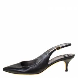 Dolce and Gabbana Black Leather Pointed Toe Slingback Pumps Size 38.5