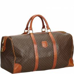 Celine Brown Macadam Coated Canvas Duffle Bag