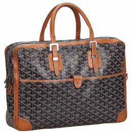 Brown Coated Canvas Goyardine Ambassade MM Briefcase Goyard