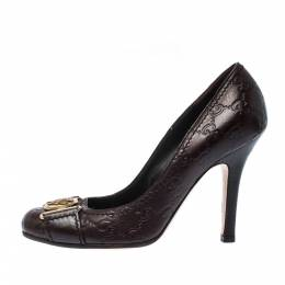 Gucci Dark Brown Guccisima Leather Hysteria Pumps Size 36.5