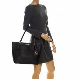 Michael Kors Black Leather Large Caira Tote 221875