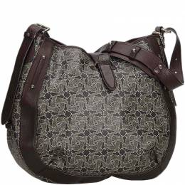 Celine Gray Macadam Coated Canvas Hobo Shoulder Bag
