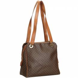 Celine Brown PVC Leather Macadam Shoulder Bag