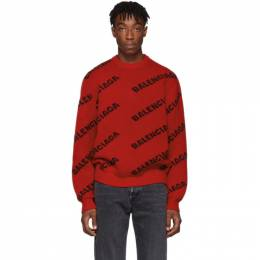 Balenciaga Red and Black Wool All Over Logo Sweater 547831-T1473-6167