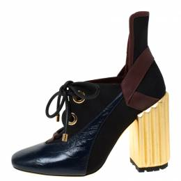 Dior Tricolor Patent Leather And Canvas Lace Up Block Heel Pumps Size 41 225975