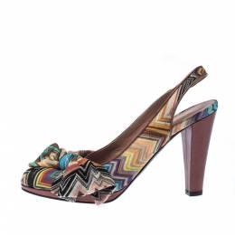 Missoni Multicolor Knit Fabric Bow Slingback Sandals Size 36.5 226824