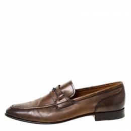 Bally Brown Leather Brignant Slip On Loafers Size 40.5 225548