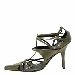 Dior Green Leather Strappy Pointed Toe Pumps Size 36.5