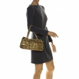Moschino Olive Green Pleated Patent Leather Frame Shoulder Bag 225847