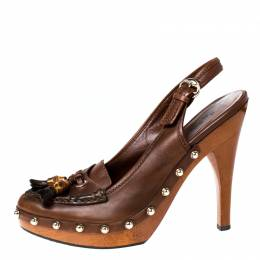 Gucci Brown Leather Tassel Loafer Slingback Clogs Size 38.5
