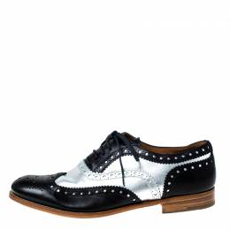Church's Metallic Silver And Black Brogue Leather Oxfords Size 37 Church's 227336