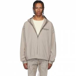 Essentials	 Taupe Reflective Logo Pullover Anorak 192161M20201403GB