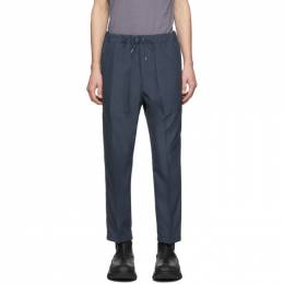 OAMC Blue Cropped Drawcord Trousers 192637M19100503GB