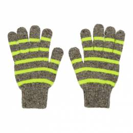 Paul Smith Grey and Yellow Striped Gloves 192260M13501101GB