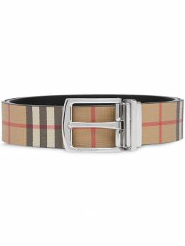 Burberry - Reversible vintage check e-canvas and leather belt 56939596935500000000