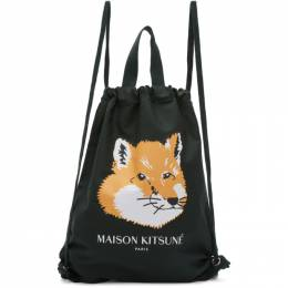 Maison Kitsune Green Fox Head Backpack 192389M16600201GB