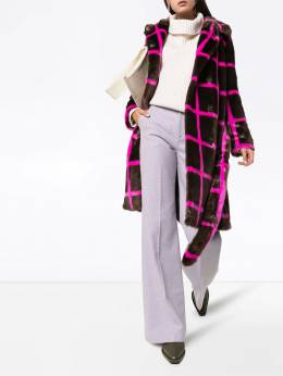 Stand - Irina checked faux fur coat 638556MINKBROWNPINK9