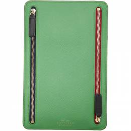 Smythson Green Panama Zip Currency Case 192087M16400701GB