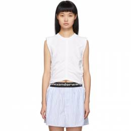 T by Alexander Wang White Wash and Go Side Tie Crop Top 192214F11101302GB