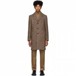 Boss Brown Herringbone Nye Coat 192085M17601305GB