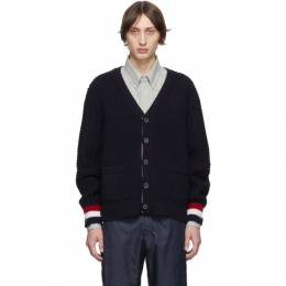 Thom Browne Navy Merino Chunky Fun-Mix Stitch Cardigan 192381M20002502GB