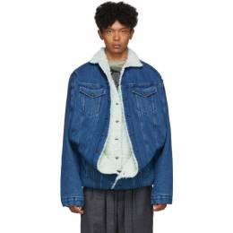 Y / Project Navy Denim Sherpa Jacket 192893M17705302GB
