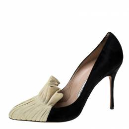 Manolo Blahnik Black And Beige Suede Arleti Frill Detail Pumps Size 39.5 229857