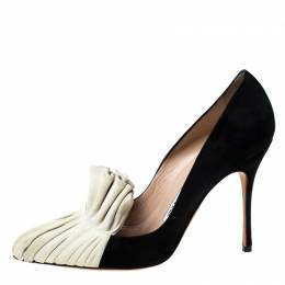 Manolo Blahnik Black and Beige Suede Arleti Frill Detail Pumps Size 37 229859