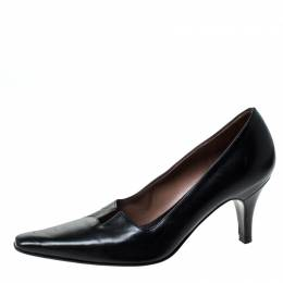 Gucci Black Leather Square Toe Pumps Size 34 229813