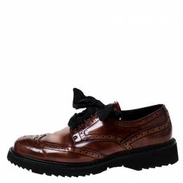 Prada Brown Brogue Leather Spazzolato Oxfords Size 37
