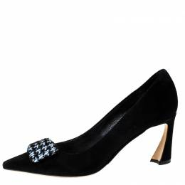 Dior Black Suede Houndstooth Buckle Pointed Toe Pumps Size 37.5