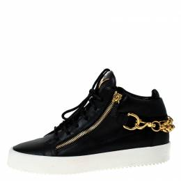 Giuseppe Zanotti Design Black Leather London Chain Embellished High Top Sneakers Size 44 229373
