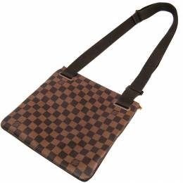 Louis Vuitton	 Damier Ebene Canvas Brooklyn Pochette Plate Bag