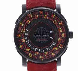 Louis Vuitton Black Stainless Steel and Leather Escale Time Zone Q5D230 Men's Wristwatch 39MM 227972