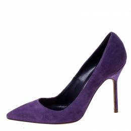 Manolo Blahnik Purple Suede BB Pointed Toe Pumps Size 35 229900
